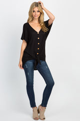 Black Button Front Knot Dolman Top