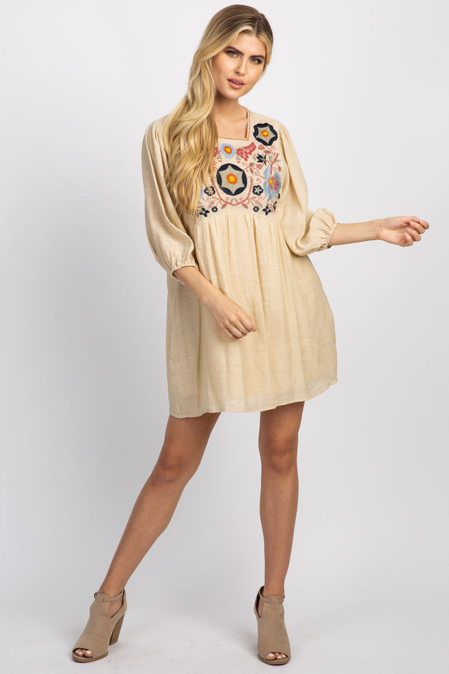 Beige 3/4 Sleeve Embroidered Dress
