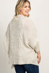 Taupe Knit Dolman Sleeve Maternity Plus Cardigan