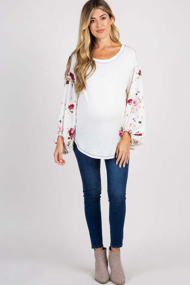 Ivory Floral Sleeve Maternity Top