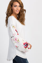 Ivory Floral Sleeve Top