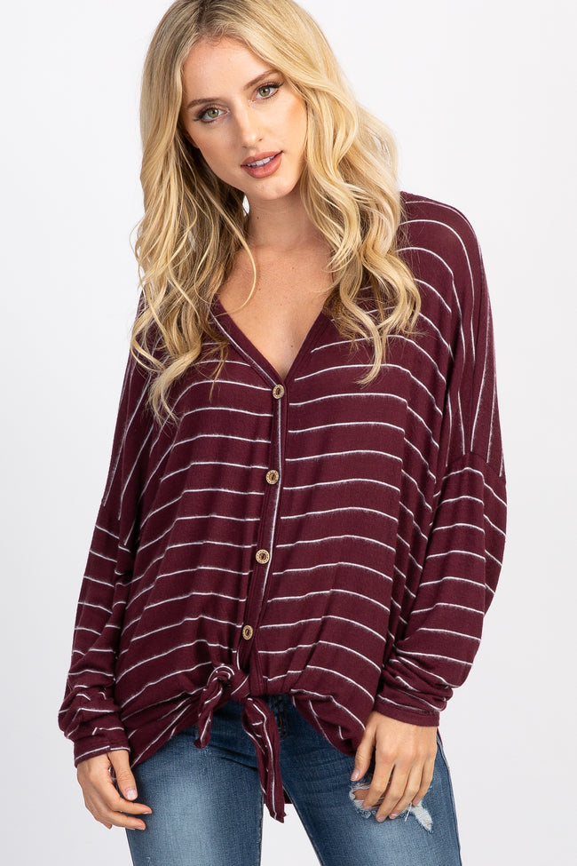 Burgundy Striped Button Tie Front Dolman Maternity Top