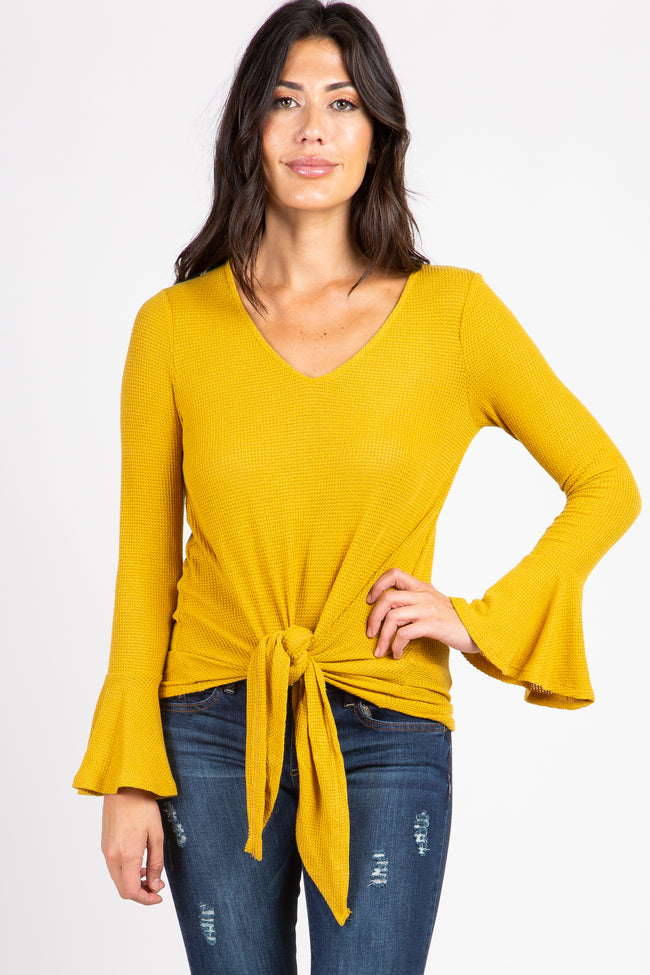 Mustard Solid Knit Bell Sleeve Tie Front Top