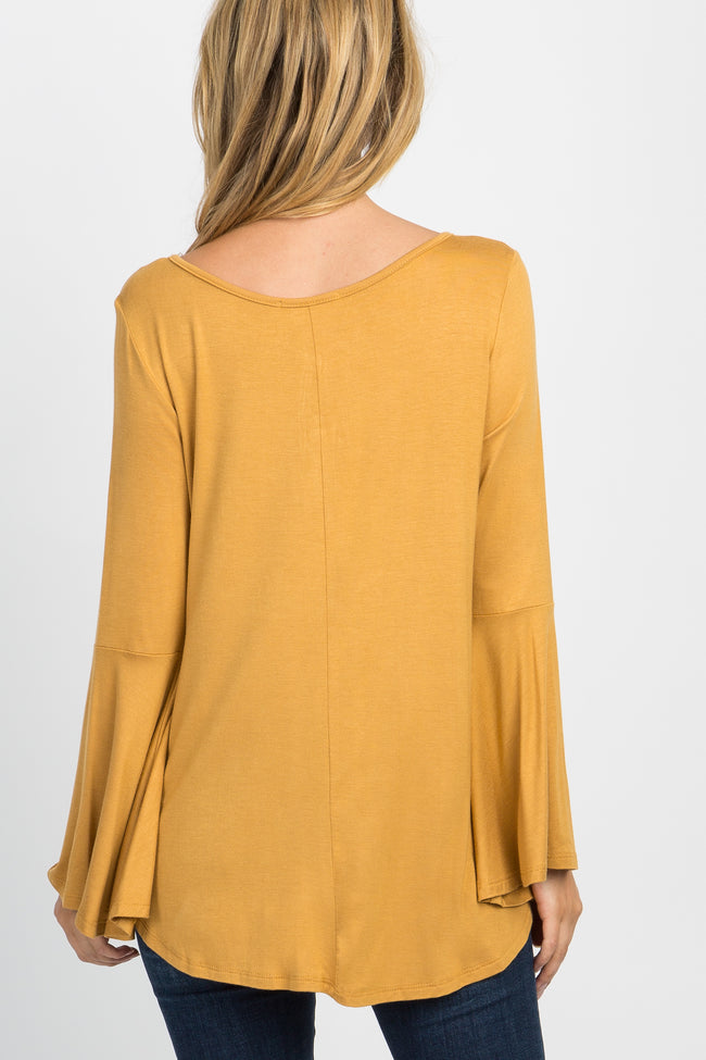 Yellow Bell Sleeved Pom Pom Top