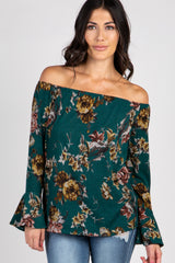Forest Green Floral Off The Shoulder Maternity Top