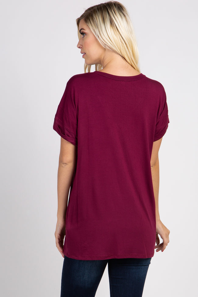 Burgundy Solid Pocket Top
