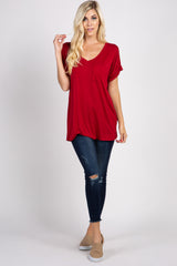 Red Solid Pocket Front Top