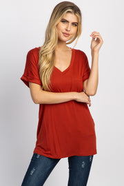 Rust V-Neck Pocket Accent Top