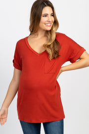 Rust V-Neck Pocket Accent Maternity Top