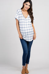 White Plaid Pocket Maternity Top