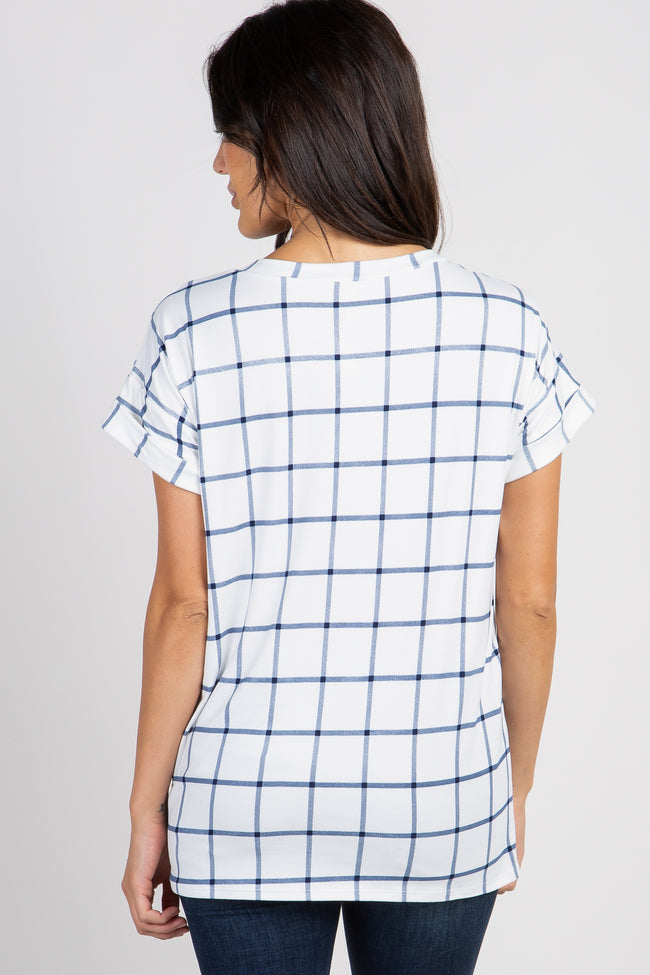 White Plaid Pocket Top