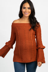 Rust Off The Shoulder Ruffle Bell Sleeve Maternity Sweater
