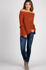 Rust Off The Shoulder Ruffle Bell Sleeve Sweater