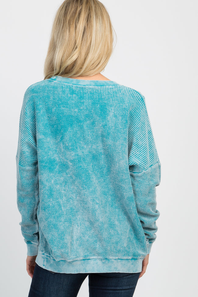 Blue Faded Ribbed Cuffed Sweater