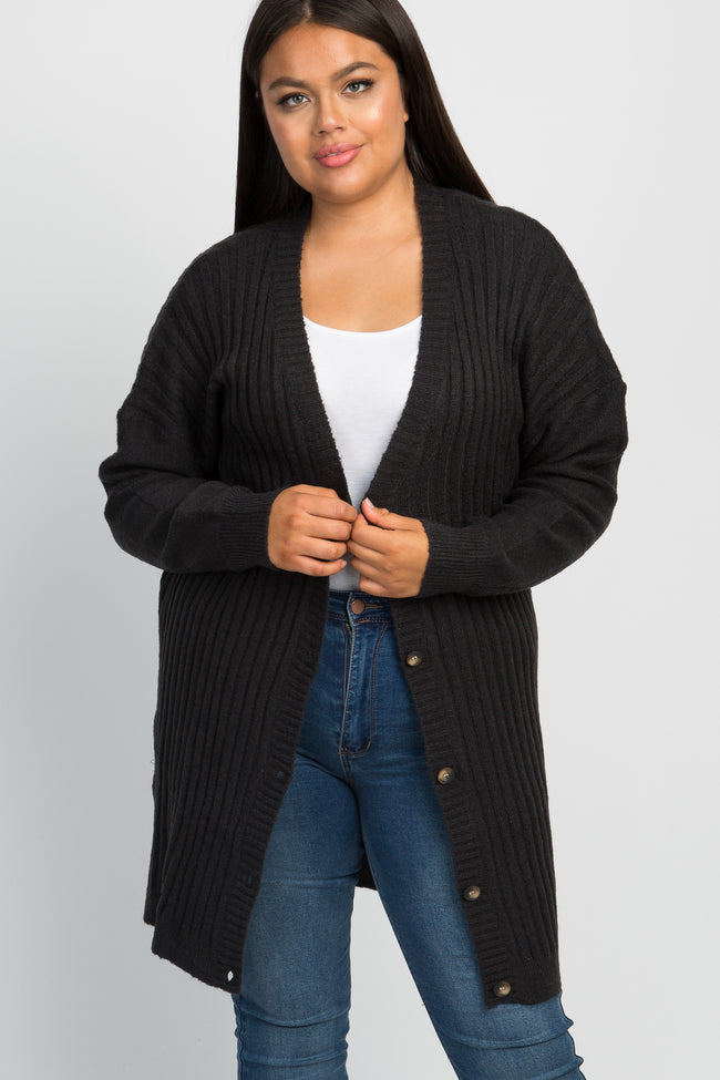 Black Ribbed Knit Button Down Plus Cardigan