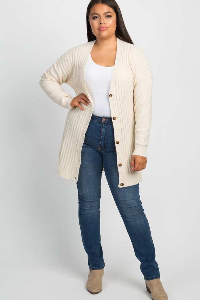 Ivory Ribbed Knit Button Down Plus Cardigan