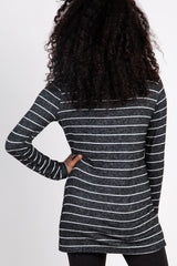 Charcoal Striped Mock Neck Long Sleeve Knit Top