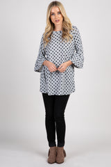 Heather Grey Polka Dot 3/4 Bell Sleeve Top