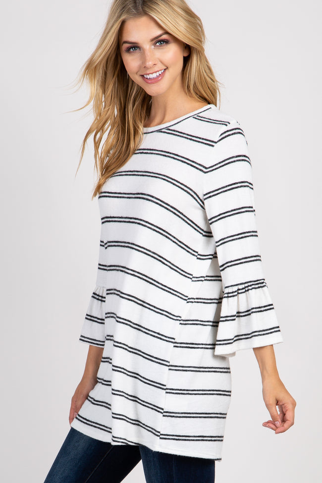 Ivory Striped 3/4 Ruffle Sleeve Knit Top