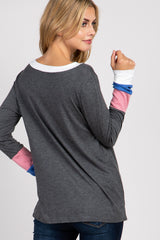 Charcoal Long Sleeve Colorblock Top