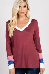 Burgundy Long Sleeve Colorblock Top