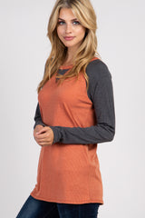 Rust Long Sleeve Colorblock Raglan Top