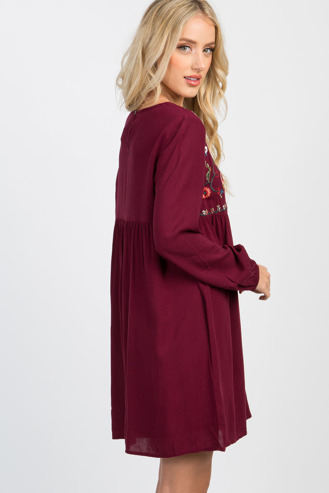 Burgundy Long Sleeve Embroidered Dress