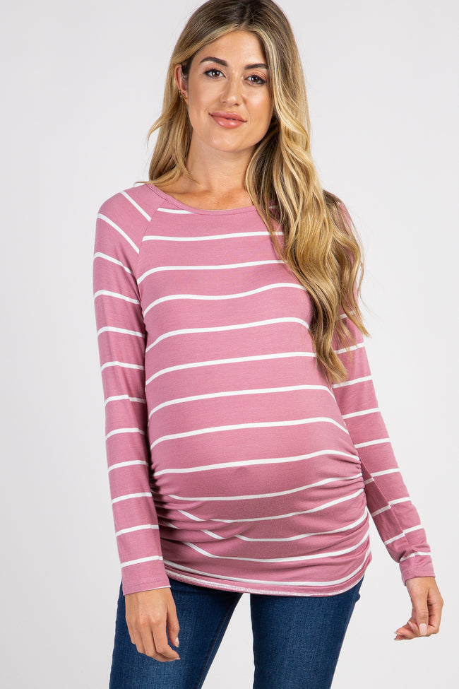 Mauve Striped Ruched Maternity Top