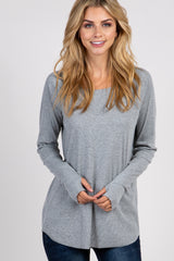 Heather Grey Solid Ribbed Long Sleeve Top