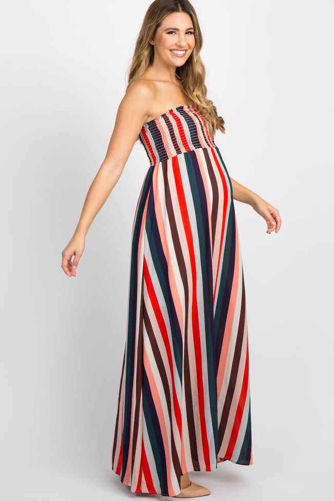 Multi-Color Striped Smocked Strapless Maternity Maxi Dress