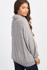 Grey Soft Knit Cowl Neck Maternity Top