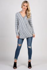Heather Grey Striped Draped Wrap Top