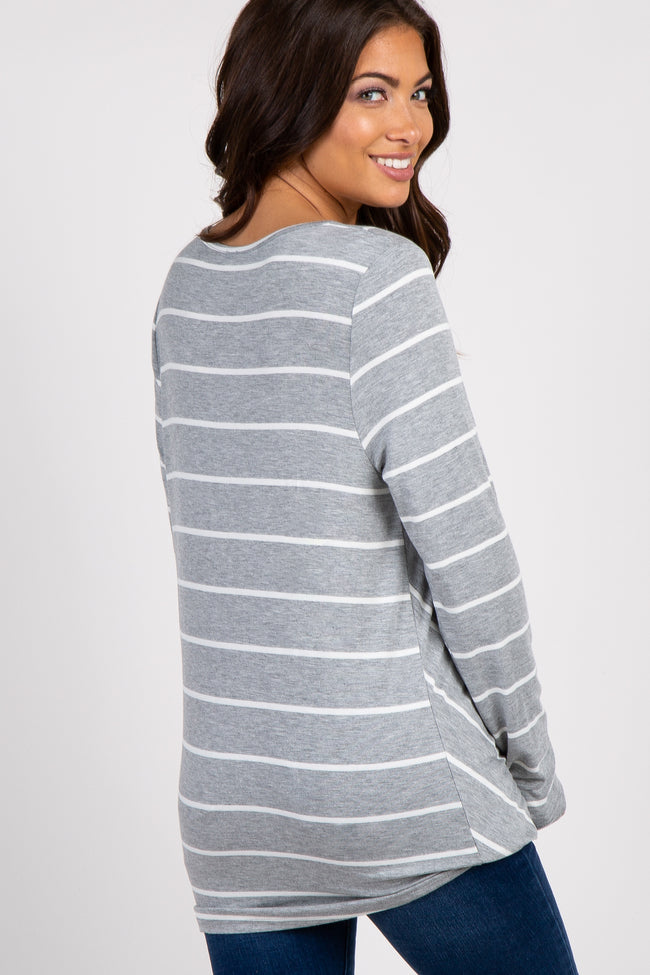 Heather Grey Striped Draped Wrap Maternity Top