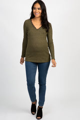 Olive Ribbed Lace Trim Maternity Top