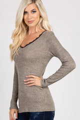 Mocha Ribbed Lace Trim Top
