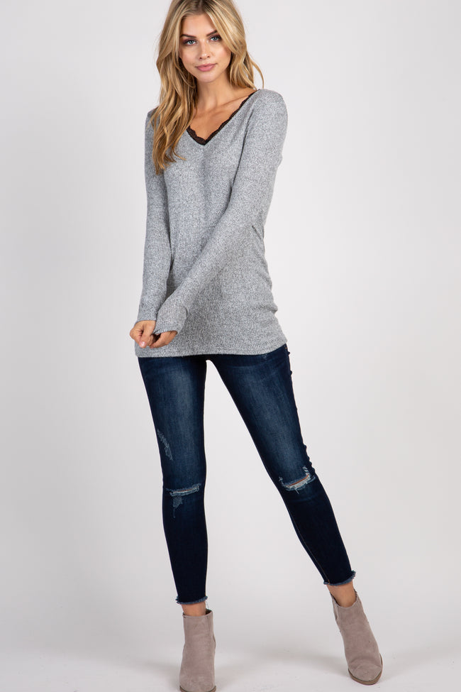 Heather Grey Ribbed Lace Trim Top