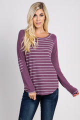 Purple Striped Colorblock Elbow Patch Top