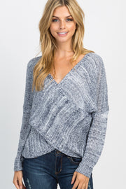 Navy Heathered Knit Cross Wrap Front Sweater