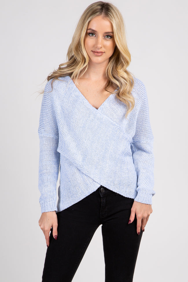 Light Blue Heathered Knit Cross Wrap Front Sweater