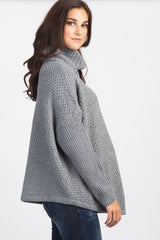 Grey Knit Cowl Neck Long Sleeve Maternity Sweater
