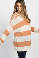 Peach Cold Shoulder Knit Maternity Top