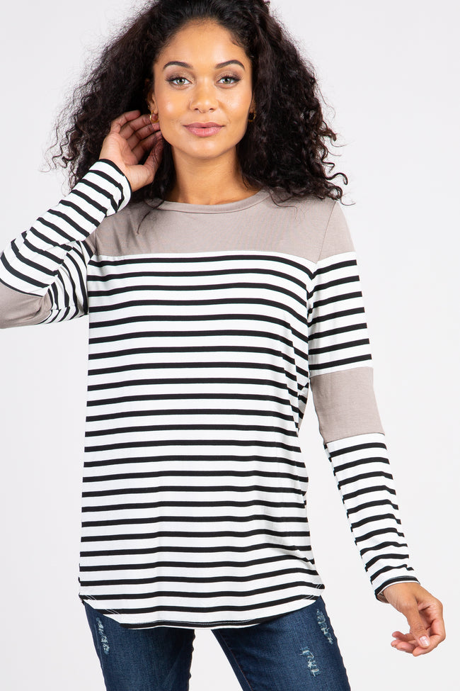 Taupe Striped Colorblock Maternity Top