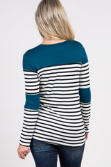 Dark Jade Striped Colorblock Maternity Top