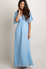 Tall Light Blue Chiffon Bell Sleeve Maxi Dress