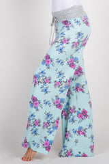 Mint Green Floral Drawstring Maternity Lounge Pants