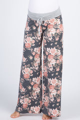 Charcoal Rose Drawstring Maternity Lounge Pants