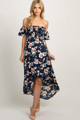 PinkBlush Navy Blue Floral Off Shoulder Smocked Wrap Dress