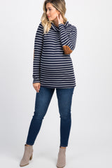 Navy Striped Cowl Neck Knit Maternity Top