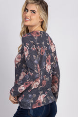 Navy Floral Knot Long Sleeve Top
