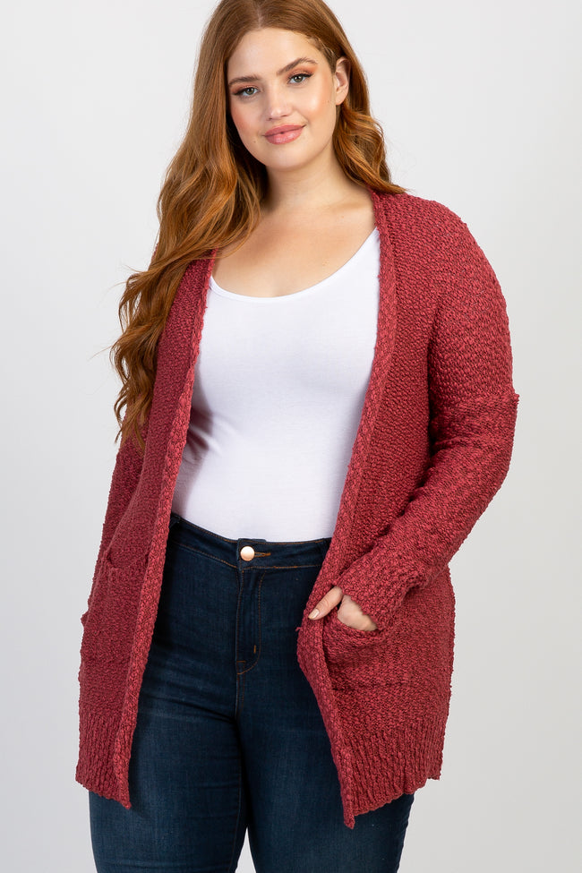 Red Knit Plus Maternity Cardigan